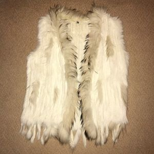 MEEFUR White Rabbit Fur Vest Size Medium